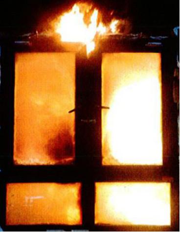 背火面出现火焰